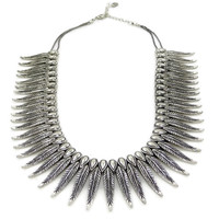 Tribal Feather Necklace - Silver