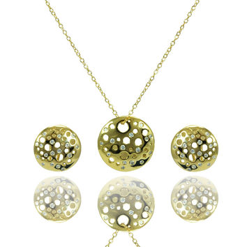 .925 Sterling Silver Gold Plated Clear Round Disc Cubic Zirconia Stud Earring &  Necklace Set: SOD