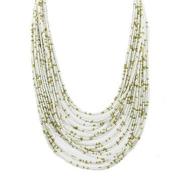 White and Gold Seed Bead Layered Necklace