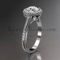 "14kt white gold diamond floral wedding ring, engagement ring with a ""Forever Brilliant"" Moissanite center stone ADLR101"
