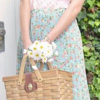 Spring Sonnet Floral Print Accordian Pleat Midi Skirt in Hazy Blue | Sincerely Sweet Boutique