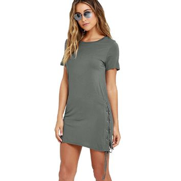 Fashion Women Solid Color Short Sleeve Dress