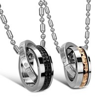 "JewelryWe New ""Eternal Love"" Stainless Steel Interlocking Double Rings Pendant Necklace Couples Jewelry Set (One Pair)"