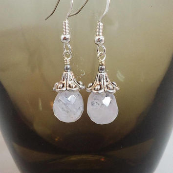 Frosted Quartz Earrings, Frosted Clear Quartz Earrings, Bridal Earrings, Gift for Her