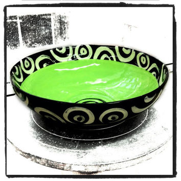 Medium ceramic bowl bright green inside black and white pattern perfect for entertaining and serving made in NYC