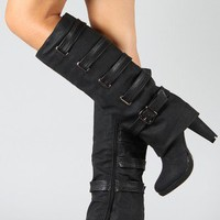 Kuroda-3 Strappy Cuff Knee High Boot
