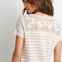 Lace-Paneled Stripe Tee