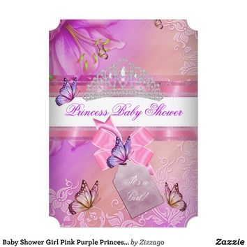 Baby Shower Girl Pink Purple Princess Butterfly 3 Custom Invite from Zazzle.com