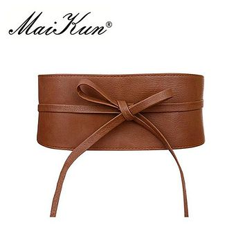 Boho Belt for Women Bowknot Faux Leather Wrap Around Obi Style Cinch Waistband Black Cummerbund Brown Women Belt
