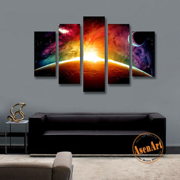 Amazing Outer Space Painting Star Moon 5 Panel Wall Art Canvas Prints Artwork Picture for Living Room Decor Unframed