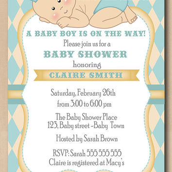 Little prince baby shower invitation, blue diamonds unique baby boy shower invite, printable DIY