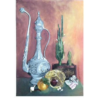 Original watercolor painting print. Blue , yellow , brown , black color . Pastel and watercolor Still life