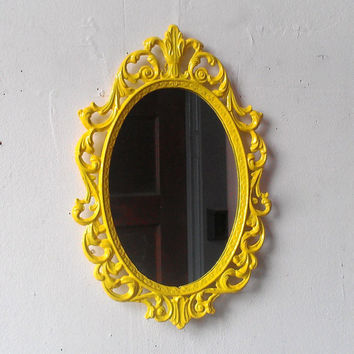 Yellow Princess Mirror in Vintage Metal Frame 10 by 7 Inches