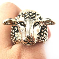 Realistic Sheep Lamb Animal Adjustable Ring in Gold | Animal Jewelry