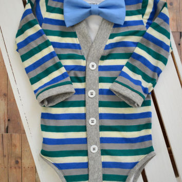 Baby Cardigan And Bow Tie: Blue, Green, Gray Stripe with Interchangeable Tie Shirt and Bow Tie