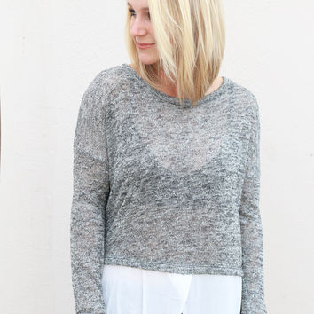 Split Personality Knit {Gray/White}