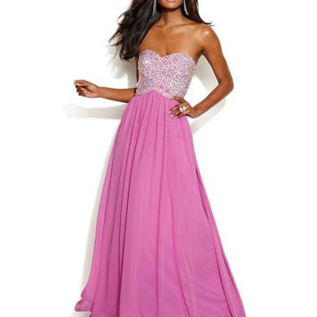 Xscape Strapless Embellished Bodice Cutout Gown