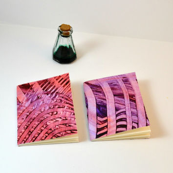 2 Small Pocket Notebooks, Keyword Journaling on the go, Red & Purple, Small Gift Ideas, Mohawk Superfine Paper, Paste Paper Cover