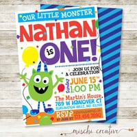 "Our Little Monster Boy's Birthday Party DIY Printable Invitation, 5"" x 7"""