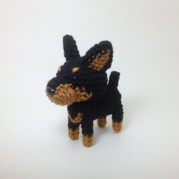 Doberman Pinscher Black and Tan Crochet Dog Handmade Amigurumi Puppy Stuffed Animal / Made to Order
