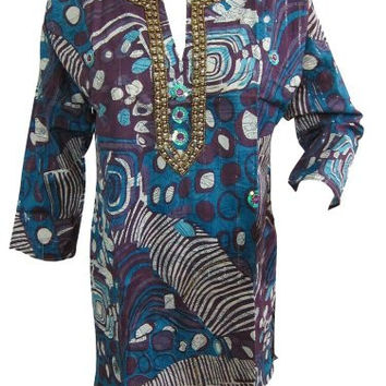 Indian Tunic Dress Kurta Neck Sequin Embroidery Blue Cotton Long Kurti