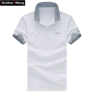 Summer Men's Leisure Business POLO Shirt Fashion Lapel Male Short-sleeved Polo Shirt Solid Color Large Yards Men Brand Clothes