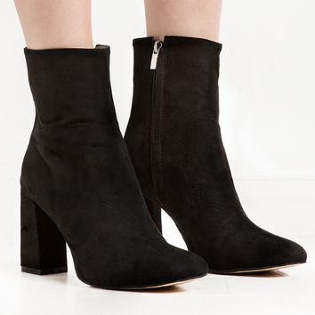 Black Suede High Ankle Heel Boot- 15% OFF