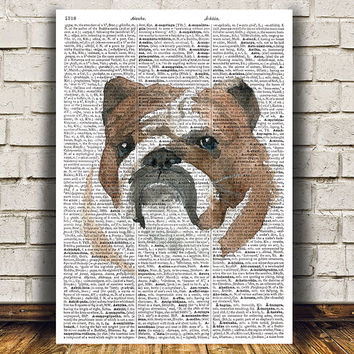 Dog print Bulldog poster Dictionary decor Animal print RTA1565