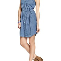 Women's Chambray Sleeveless Shirtdresses