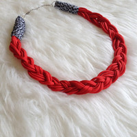 Chunky Braided Cord Statement Necklace - Handmade, Red, Para-cord, Paracord, Braided, Fashion, Statement, Unique, Silver Tone, Trendy,