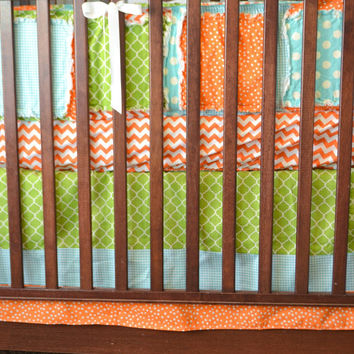 Custom Crib Set, Orange, Aqua, and Green Bumpers, Skirt, Sheet, Made to Order
