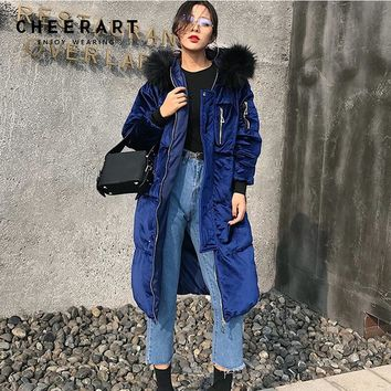 Cheerart Thicken Winter Velvet Long Down Jacket Parka Women Fur Hood Quilted Coat Anorak Overcoat Female Snow Wear