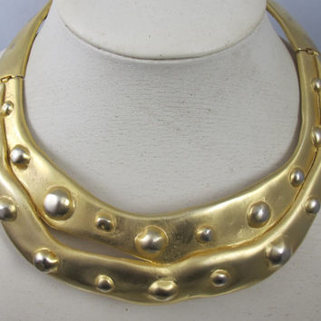 Vintage Vc Valentino Collar Necklace Couture Runway Sculpted Hammered Hinged Rigid Wide