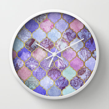 Royal Purple, Mauve & Indigo Decorative Moroccan Tile Pattern Wall Clock by Micklyn