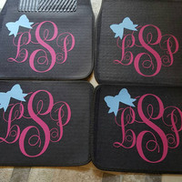 Set of 4 monogrammed car floor mats