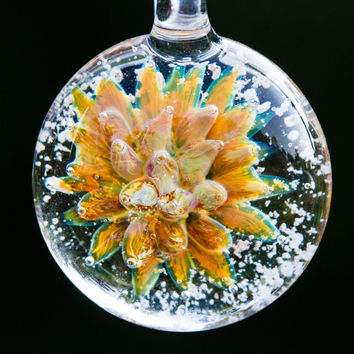Glass Flower Pendant with Cremation Ash