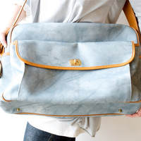 Vintage Light Blue and Tan Carry On by thevintagetreehouse on Etsy