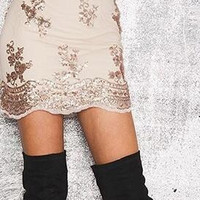 Fashion Embroidery Sequins Patchwork Lace Mini Skirt