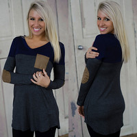 Something New Tunic (Navy/Gray) - Piace Boutique
