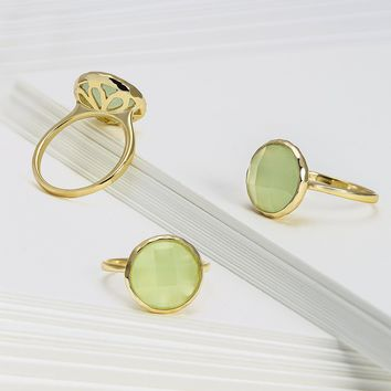 Green Simulated Chalcedony Rose Quartz Ring 14K Gold Plated 925 Silver