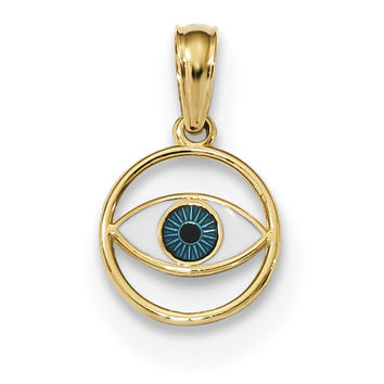 14k Polished Enameled Eye Pendant K6129