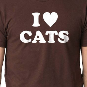Husband Gift Cats Lovers I Heart CATS Shirt Funny Animal Cat Tshirt Cool Shirt Meow Graphic Shirt Awesome Dad Gif