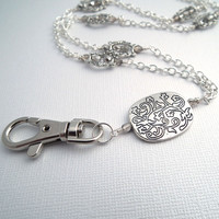 Silver Chain ID Badge Lanyard, Etched Silver Plated Pendant, FirePolished Czech Glass Crystals