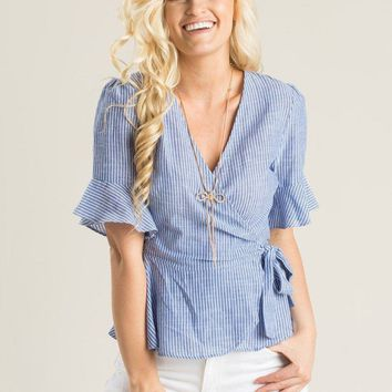 Kelly Blue Stripe Ruffle Wrap Top
