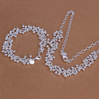 silver plated grape jewelry sets necklace bracelet bangle earring ring SMTS153 MP