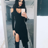 Split Women's Fashion Sexy V-neck Fashion One Piece Dress [9605147087]