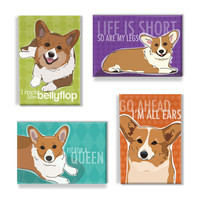 Corgi Magnet Four Pack Gift Set  Red Pembroke Welsh by PopDoggie