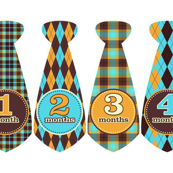 Monthly Onesuit Stickers-FREE NEWBORN SET-Tie Stickers- Baby Boy- Blue, Brown, & Orange Plaid Argyle Ties-Baby Month Stickers-Sheet no.203