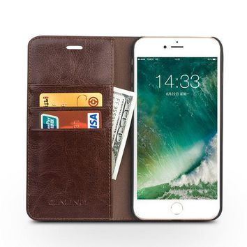 DCCKHY9 QIALINO 2016 Case for iPhone 7 fashion pure handmade cover for iPhone 7 plus Genuine Leather Flip Wallet Ultra Thin Case 4.7/5.5