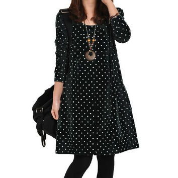 Black Polka Dot Ruffled High Waist Knee-Length Dress